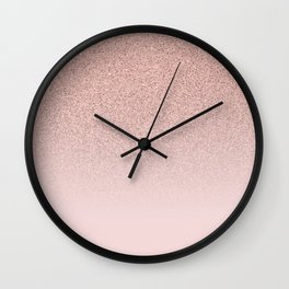 Trendy Rose Gold Faux Glitter Blush Pink Ombre Color Block Wall Clock