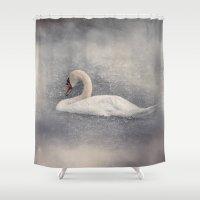 wildlife Shower Curtains featuring Swan Storm - Wildlife by Jai Johnson