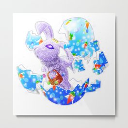 'You Cracked the Egg' Series - Easter Angelic Bunny Metal Print