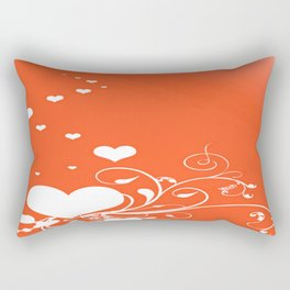 White Valentine Hearts On Red Background Rectangular Pillow