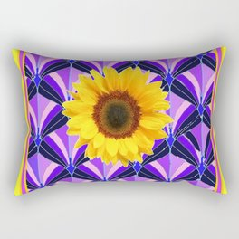 Purple Geometric Sunflower Patterns on Yellow Rectangular Pillow