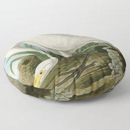 White Heron - John James Audubon's Birds of America Print Floor Pillow