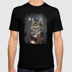 Wizard Cat Mens Fitted Tee X-LARGE Black