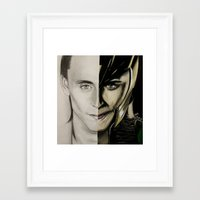 tom hiddleston Framed Art Prints featuring Tom Hiddleston by Goolpia