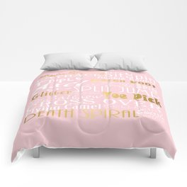 Figure Skating Subway Style Typographic Design Millennial Pink and  Gold Foil Comforters