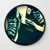 sneakers Wall Clocks featuring Converse Sneakers by Tyland Creations