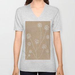 Dandelions flowers illustration on beige kraft Unisex V-Neck