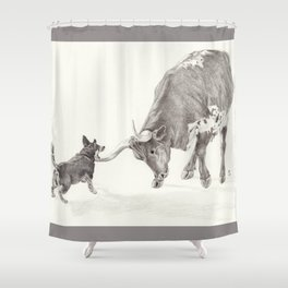 Penny vs. the Cow Shower Curtain