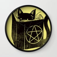 witchcraft Wall Clocks featuring Witchcraft Cat by Tobe Fonseca