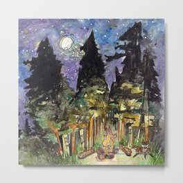 Campfire Under a Full Moon Metal Print