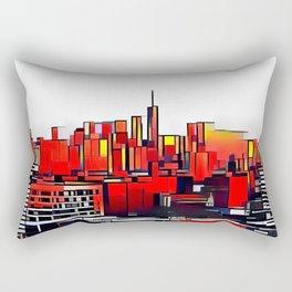 Mondrian Mosaic of Manhattan in Orange and Yellow Rectangular Pillow