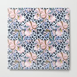 Orchid and animal print Metal Print