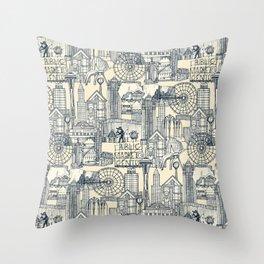 Seattle indigo cream Throw Pillow