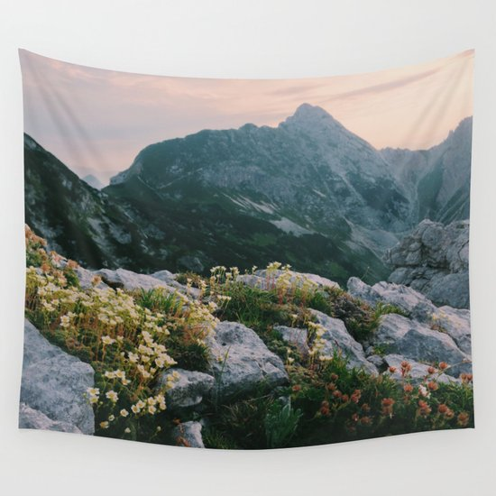 Mountain flowers at sunrise Wall Tapestry