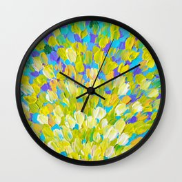 SPLASH 2 - Bright Bold Ocean Waves Beach Ripple Turquoise Aqua Lime Lemon Colorful Rainbow Wow Wall Clock