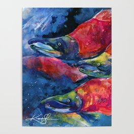 Sockeye Salmon Watercolor Painting Poster