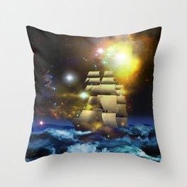 Sail Ship Universe Throw Pillow