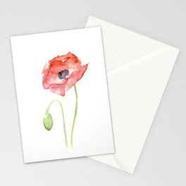 Red Poppy Flower Flowers Stationery Cards
