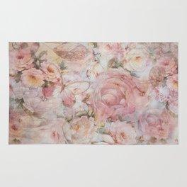 Vintage elegant blush pink collage floral typography Rug