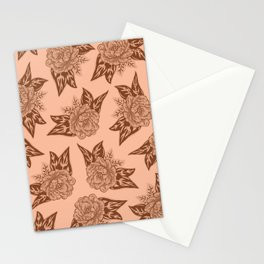Cabbage Roses in Rust Stationery Cards