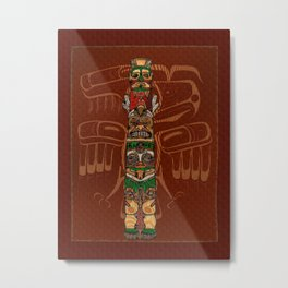 Totem Native American Folk Art Metal Print