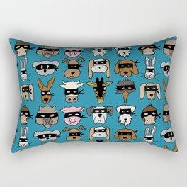 Ninja Animal Gang - Blue Rectangular Pillow