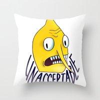 lemongrab Throw Pillows featuring Unacceptable | Lemongrab by ScarlettDesigns