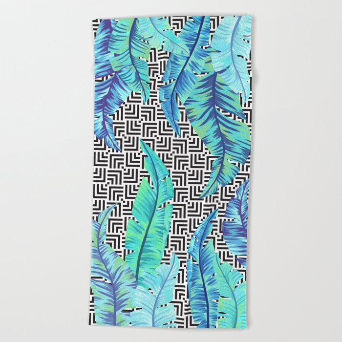 turquoise tropical leaves Beach Towel
