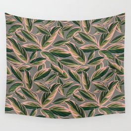 Calathea Leaves Pattern- Pink Green Gray Wall Tapestry