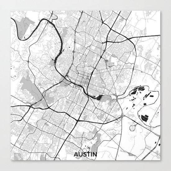 Austin Map Gray Canvas Print