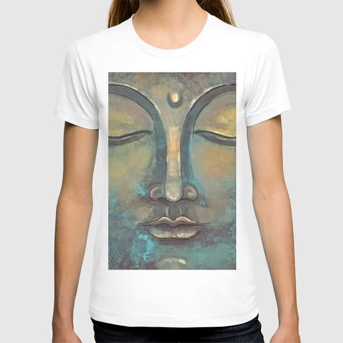 Rusty Golden Copper Buddha Face Watercolor Painting T-shirt
