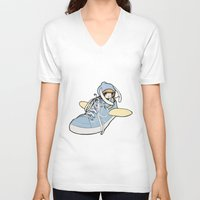 sneaker V-neck T-shirts featuring Sneaker ridin' by catamariii