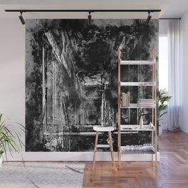 lost place dark hallway splatter watercolor black white Wall Mural