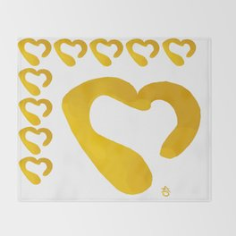 Gold Hearts on White - Love is Golden Throw Blanket