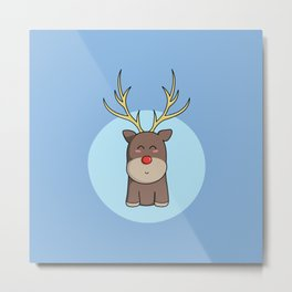 Cute Kawaii Christmas Reindeer Metal Print