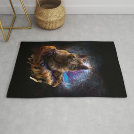 Galaxy Space Maine Coon Cat On Pizza Rug