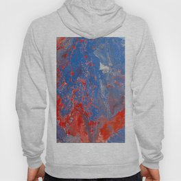 Fluid Art Acrylic Painting, Pour 13, Blue, Red & White Blended Color Hoody