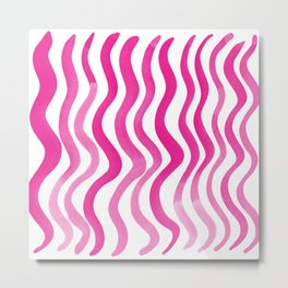 Wavy lines - magenta Metal Print
