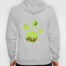 Sparkly Christmas tree, stars on abstract green paper Hoody
