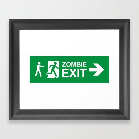 Zombie Exit Framed Art Print