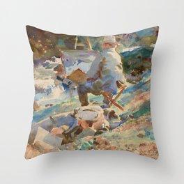"John Singer Sargent ""An Artist at His Easel"" Throw Pillow"