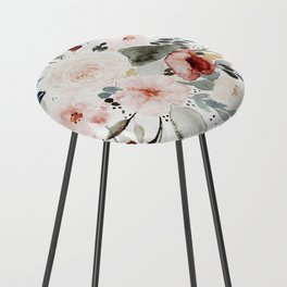 Loose Watercolor Bouquet Counter Stool