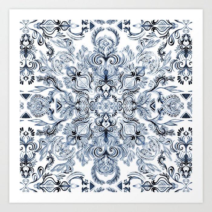 Indigo, Navy Blue and White Calligraphy Doodle Pattern Kunstdrucke