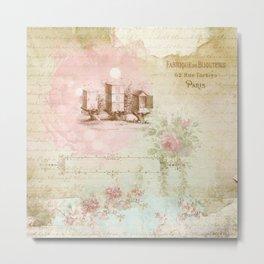Pretty Vintage Pink Ephemera and Floral Collage Metal Print