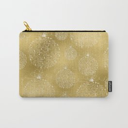 Merry christmas- christmas balls on gold pattern Carry-All Pouch