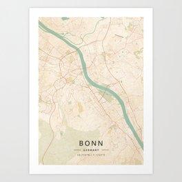 Bonn, Germany - Vintage Map Art Print