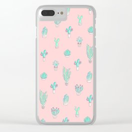 Little succulent pattern on pastel pink Clear iPhone Case