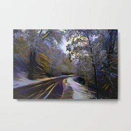 Rural road in winter forest Metal Print