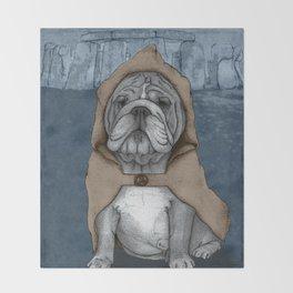 English Bulldog in Stonehenge Throw Blanket