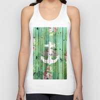 preppy Tank Tops featuring Vintage Floral Nautical Anchor Green Beach Wood by Girly Trend